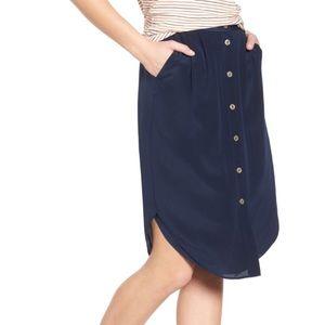 Madewell button front silk skirt